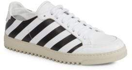 Off-White Diagonal Striped Leather Sneakers