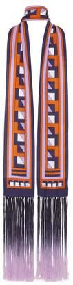 Amanda Wakeley Midnight Lilac Printed Skinny Tassel Scarf
