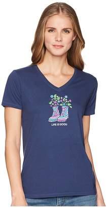 Life is Good Retro Boots Crusher Vee Women's T Shirt
