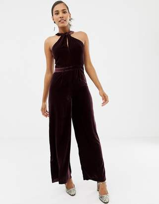 Oasis jumpsuit with twist neck in burgundy