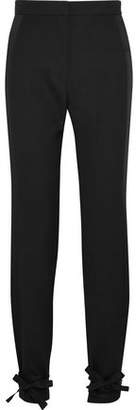 Pallas Satin-Trimmed Wool-Crepe Tapered Pants