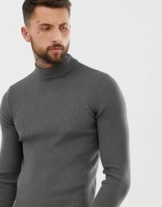 Asos Design DESIGN muscle fit ribbed turtleneck sweater in petrol blue twist