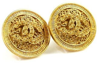 Gold Tone Metal Coco Mark Clip On Earrings