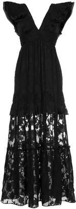 Rachel Zoe long V-neck lace dress