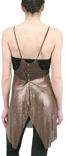 Maison Rosina Leather And Glo Mesh Dress