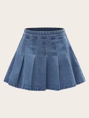 Shein Plus Pleated Flared Denim Skirt