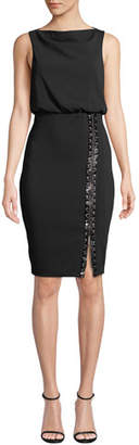 Badgley Mischka Bateau-Neck Sleeveless Blouson Dress w/ Embellished Skirt & Zip Hem