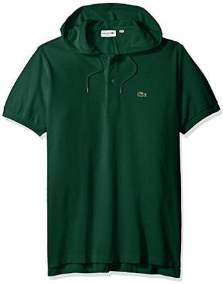 Lacoste Men's Short Sleeve Athleisure Washed Pique Hood Polo