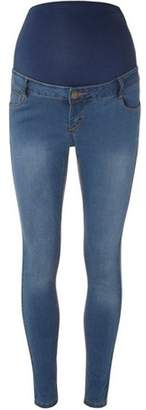 Dorothy Perkins Womens **Maternity Blue Mid-Wash 'Forever Fit' Convertible Skinny Jeans