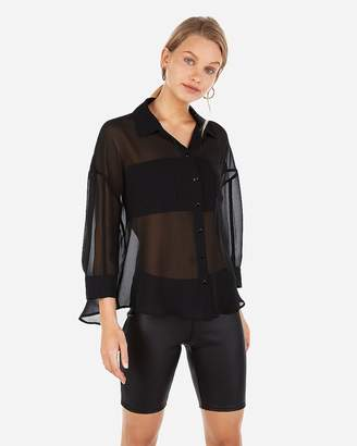 Express Sheer Boxy Button-Up Shirt