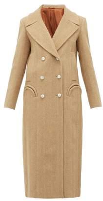 BLAZÉ MILANO Lady Anne Double Breasted Herringbone Wool Coat - Womens - Beige White