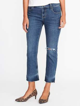 Old Navy Mid-Rise Distressed Flare Ankle Jeans for Women