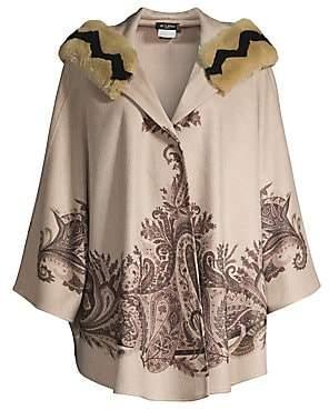 Etro Women's Rabbit-Trimmed Cashmere Paisley Hooded Cape