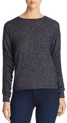 Coin Brushed Ruched-Sleeve Sweater