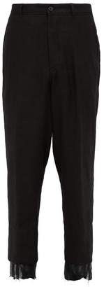 Ann Demeulemeester Distressed Cuff Hemp Trousers - Mens - Black