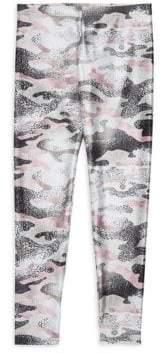 Terez Little Girl's& Girl's Metallic Pink Camo Leggings