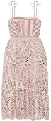 Zimmermann - Meridian Poplin-trimmed Striped Broderie Anglaise Cotton Dress - Antique rose $850 thestylecure.com