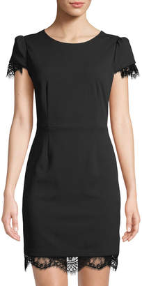 Betsey Johnson Lace-Trim Short-Sleeve Scuba Dress