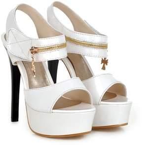 Mini Women's High Heeled Ankle Strap Zip Decor Anti-slip Open-toe Platform Sandals(10.5,)