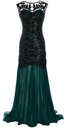 5904c7b0b34e3 M MAYEVER 1920s Long Prom Dresses Sequins Beads Gatsby Evening Party Gown    Headband (XL