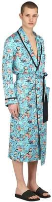 Loretta Caponi Floral Printed Silk Satin Kimono Robe