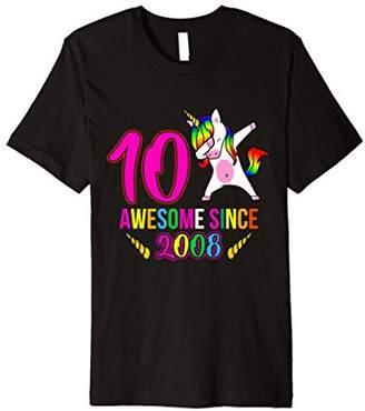 """Girls 10th Birthday Unicorn TShirt """"Awesome Since 2008"""""""
