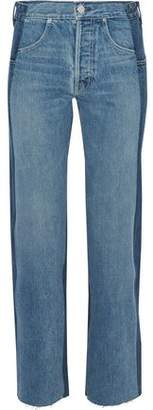 Helmut Lang Two-Tone High-Rise Straight-Leg Jeans