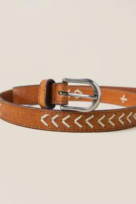 francesca's Teigan Embroidered Leather Belt in Cognac - Cognac