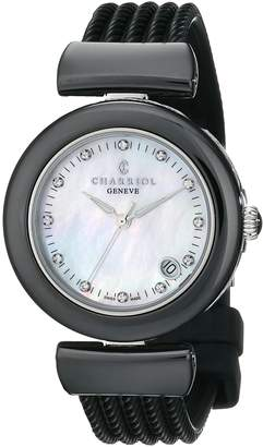 Charriol Women's AE33CB173003 Ael Analog Display Swiss Quartz Black Watch