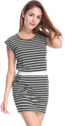 Allegra K Women's Stripes Round Neck Sleeveless Paneled Dress XS White