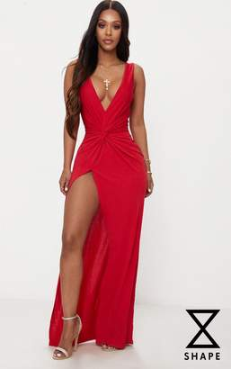 PrettyLittleThing Shape Dusty Coral Slinky Wrap Detail Maxi Dress
