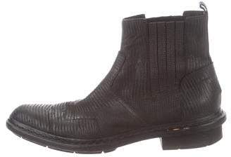 Balenciaga Embossed Leather Ankle Boots