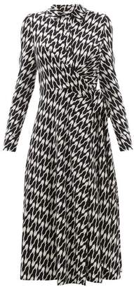 Diane von Furstenberg Sana Printed Jersey Wrap Dress - Womens - Black White