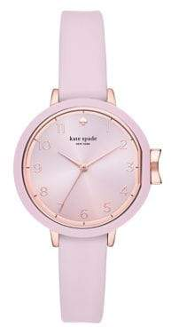 Kate Spade Womens Park Row Three-Hand Pink Silicone Watch