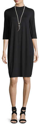 Eileen Fisher 3/4-Sleeve Lightweight Jersey Knee-Length Dress $198 thestylecure.com