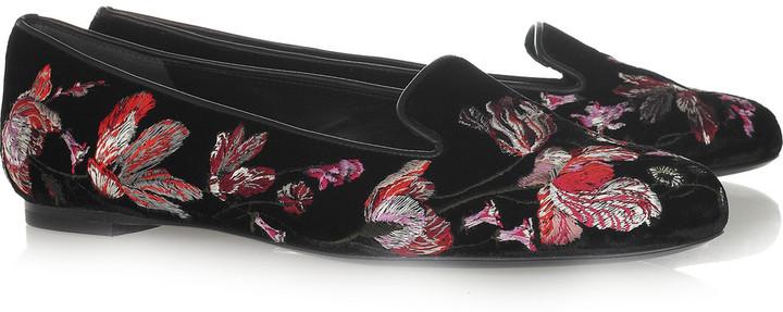 Alexander McQueen Embroidered velvet loafers