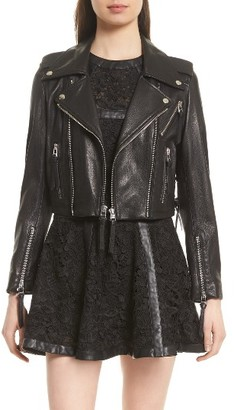 Women's The Kooples Lace-Up Lambskin Leather Jacket $895 thestylecure.com