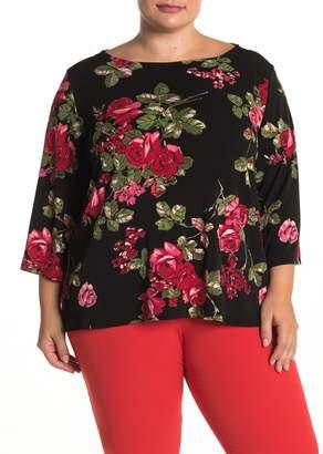 Leota Cece Floral Bateau Neck Top (Plus Size)