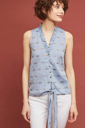 Waverly Grey Seaside Embroidered Buttondown