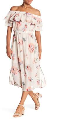 Lucky Brand Off-the-Shoulder Floral Midi Dress
