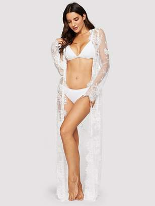 Shein Floral Lace Robe With Thong   Belt 282d37898