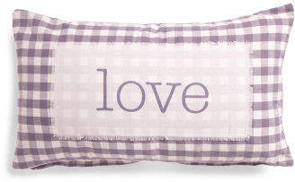 14x24 Love Patch Gingham Pillow