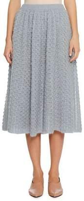 Jil Sander Full A-Line Open-Weave Mohair-Silk Midi Skirt