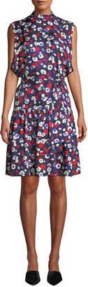Derek Lam Mock-Neck Sleeveless Belted Poppy-Print Silk Dress w/ Ruffle Hem