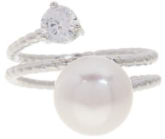 Splendid Pearls CZ Accented Genuine White Cultured Freshwater 10-10.5mm Pearl Ring