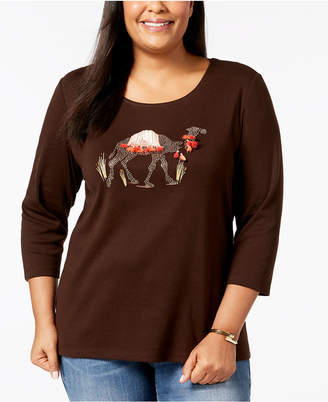 Karen Scott Plus Size Cotton Camel-Graphic T-Shirt