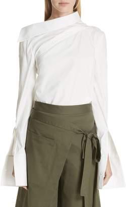 Monse Asymmetrical Shoulder Cotton Blend Poplin Top