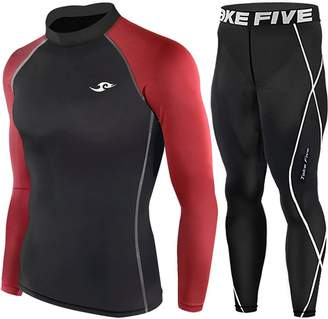 Redline Take Five Skin Tight Compression Base Layer Long Sleeve High Neck Shirts and Long Pants Set (XXL