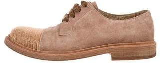 Brunello Cucinelli Suede Cap-Toe Oxfords