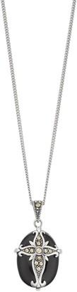 Tori Hill Sterling Silver Oval Onyx & Marcasite Cross Pendant